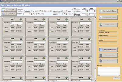 Food and Water intake data acquisition software