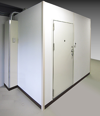 Sound attenuating room with electromagnetic shield AMS type